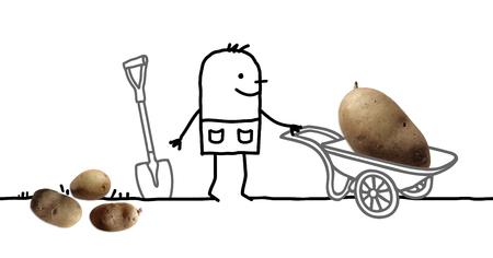 Cartoon Man in Garden and Big Potato in Wheelbarrow Stock Photo