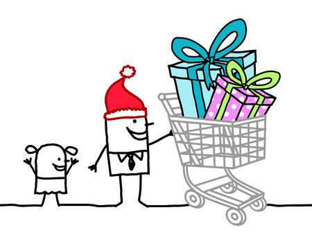 Hand Drawn Cartoon Santa Man with Child and Shopping Cart full of Gifts