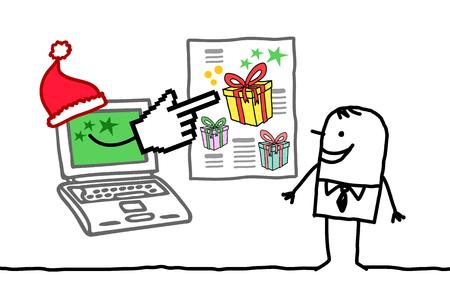 Hand Drawn Cartoon Man with Santa Laptop showing a Big Gift