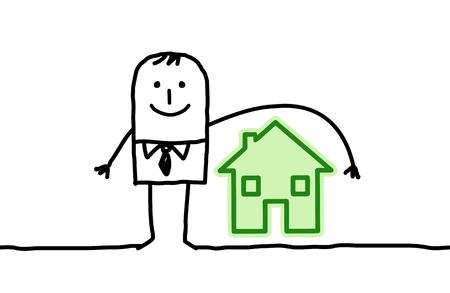 Cartoon man and housing insurance Stock Photo
