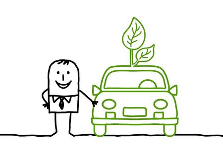 Cartoon man standing by a green car