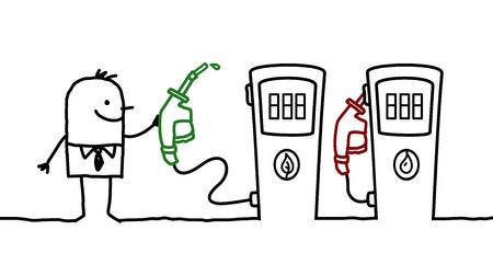 Cartoon man choosing a green fuel Stock Photo