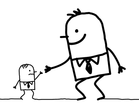 Cartoon big man helping a little one