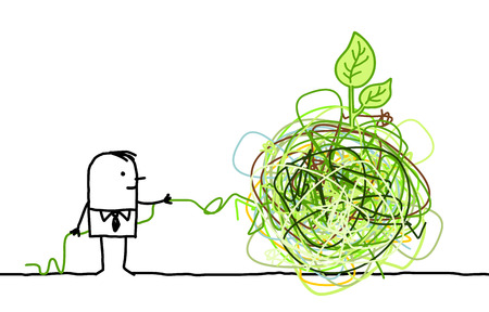 Cartoon man untangling a big green knot Фото со стока