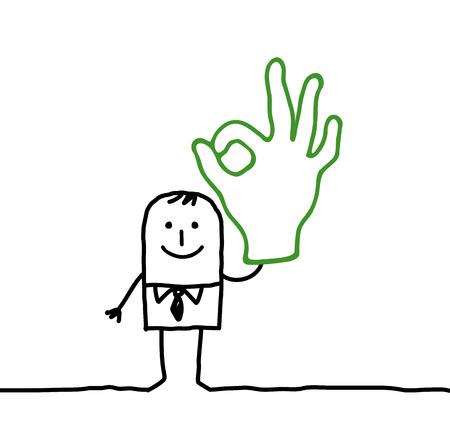 Cartoon man with OK hand sign