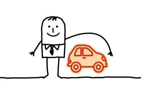 Cartoon man and car insurance