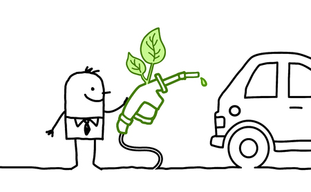 cartoon man with car and bio-fuel
