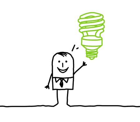 Cartoon man with green light bulb