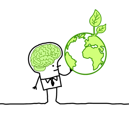 Cartoon man with green brain and earth