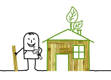 Cartoon man and self-made wood house