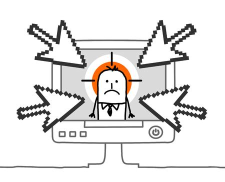 Cartoon businessman and cyberbullying