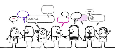 Cartoon people and social network Stok Fotoğraf