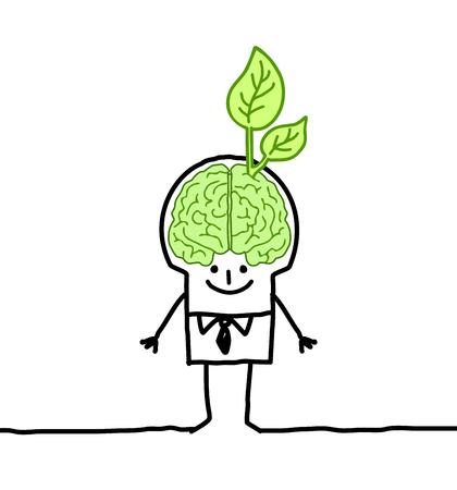 Cartoon man with big green brain Stok Fotoğraf - 120080314