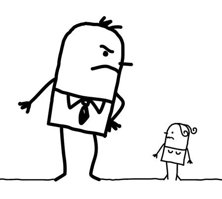 Cartoon big man and little woman Stok Fotoğraf - 120080316
