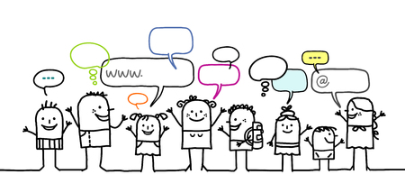 Cartoon young people and social network Stok Fotoğraf - 120080322