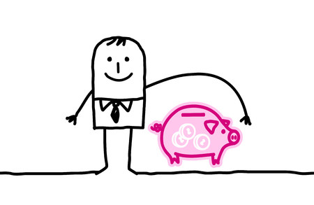 Cartoon man and banking insurance