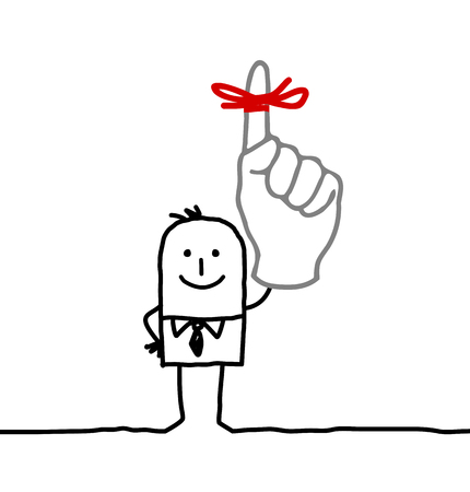 Cartoon man with red ribbon on finger