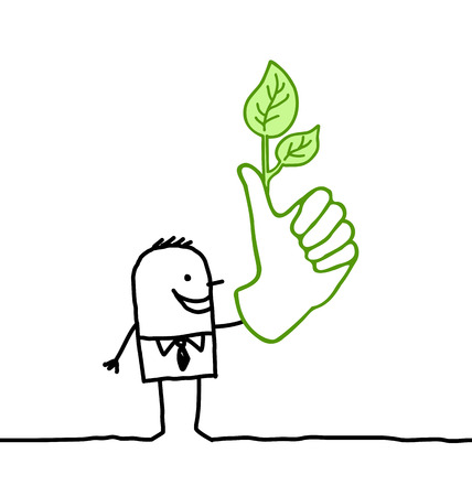 Cartoon man with big green thumb
