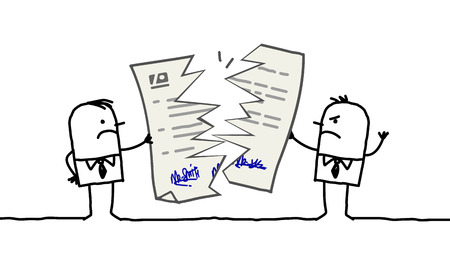 Cartoon businessmen with broken contract