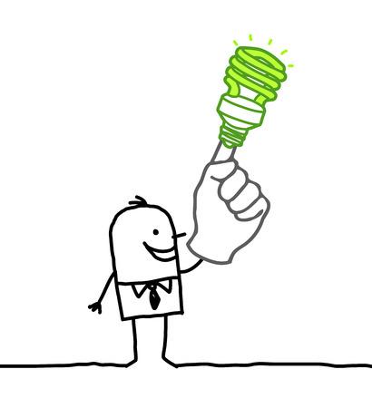 Cartoon businessman with green light bulb on finger Stok Fotoğraf - 120080388