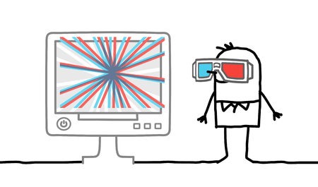 man watching computer screen with 3D glasses Stock Photo