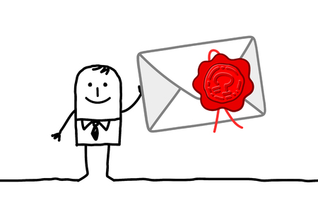 Cartoon businessman with confidential mail Stock Photo