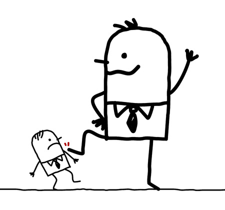 Cartoon big businessman kicking a little one Фото со стока