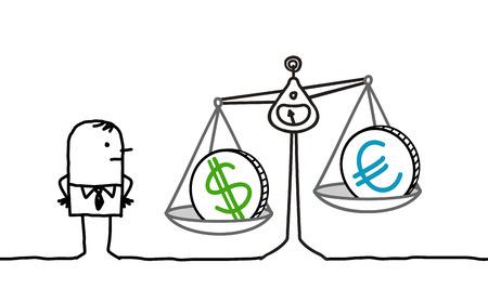 Cartoon man and currencies in balance