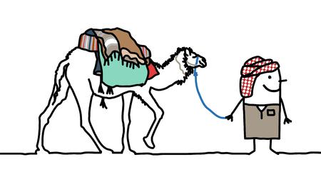 Cartoon Tuareg man with Camel Stock Photo