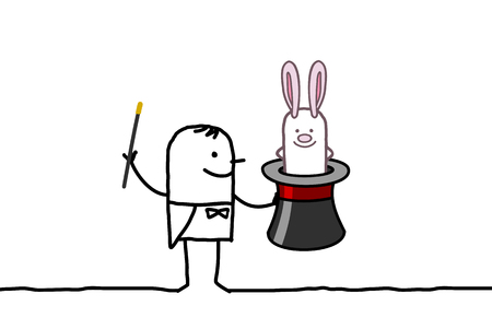 Cartoon magician with hat and rabbit Stock Photo