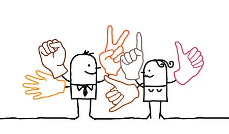 Cartoon people and sign language Stok Fotoğraf - 120080414