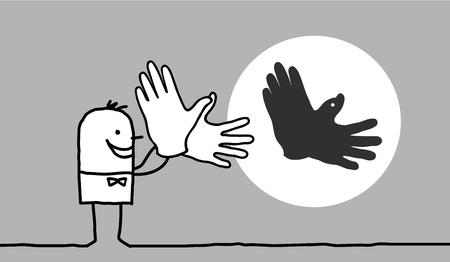 Cartoon man making bird shadow with his hands Stok Fotoğraf - 120080417