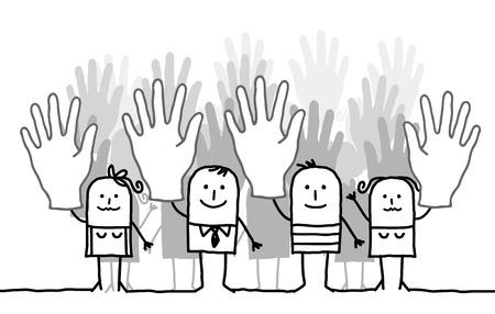 Cartoon voting group of people Stock Photo