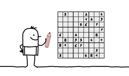 Cartoon man playing sudoku Stok Fotoğraf - 120080442