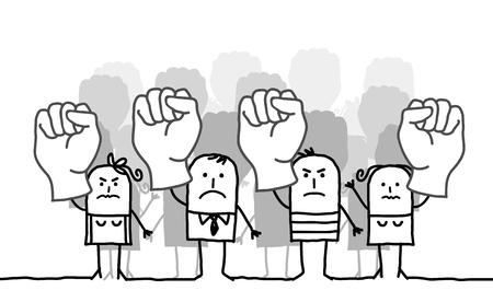 Cartoon protesting group of people Stok Fotoğraf - 120080446