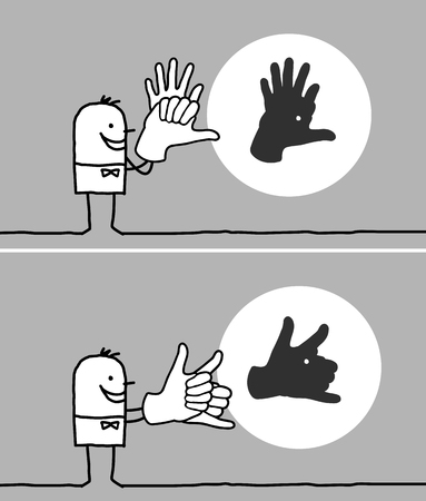 Cartoon man making animal shadow with his hands