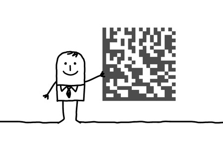 Cartoon businessman with cryptogram Stock Photo