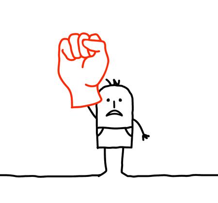 Cartoon man raising fist