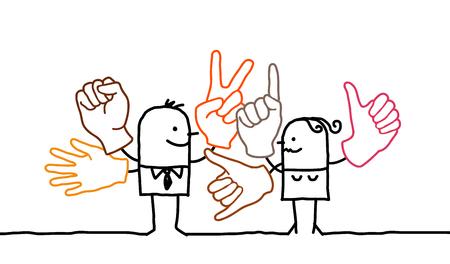 Cartoon people and sign language Stok Fotoğraf - 120080511
