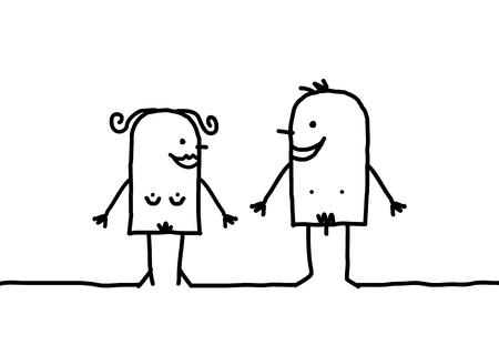 Cartoon nude couple Stok Fotoğraf - 120080512