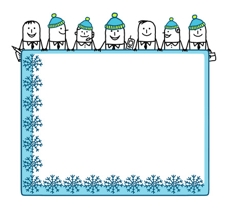 Cartoon winter business tem with blank board