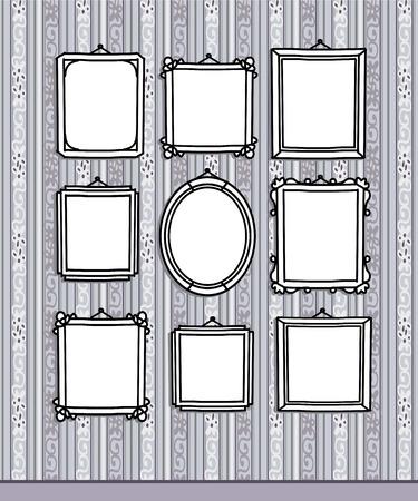 hand drawn blank frames on vintage wallpaper Stok Fotoğraf - 120080520