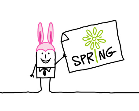 Cartoon man with rabbit hat and spring time Stock Photo
