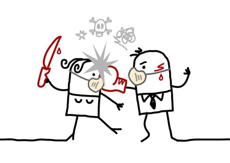 Cartoon couple with masks against the virus fighting together