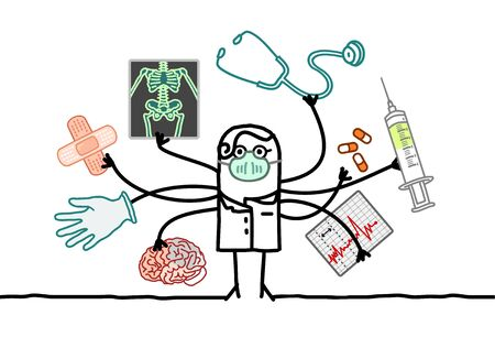 hand drawn Multitasking cartoon doctor with many arms and medical objects Иллюстрация