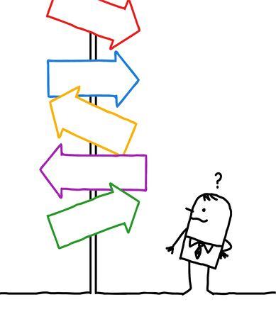 hand drawn Cartoon businessman wondering what direction he will choose Illustration