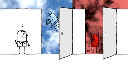 hand drawn Cartoon man front of two big opened doors : Heaven and Hell