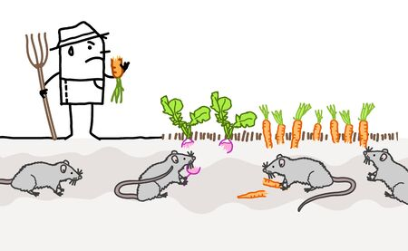 hand drawn Cartoon unhappy farmer because of mice eating his vegetables