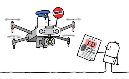hand drawn Cartoon man showing his identity card to a cop riding a drone
