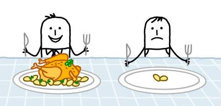 hand drawn Cartoon healthy man with a big chicken in his plate next to a poor one with only two potatoes